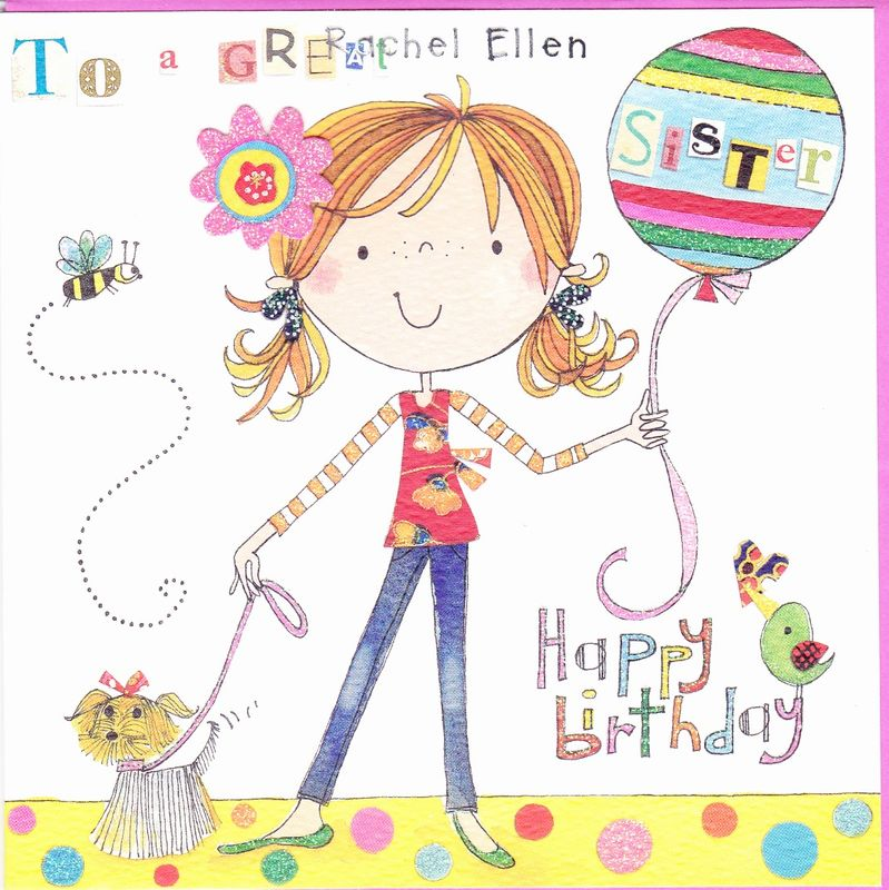 Girl Balloon Great Sister Birthday Card