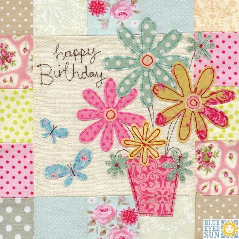 Flowers & Butterflies Birthday Card - Large, luxury ...