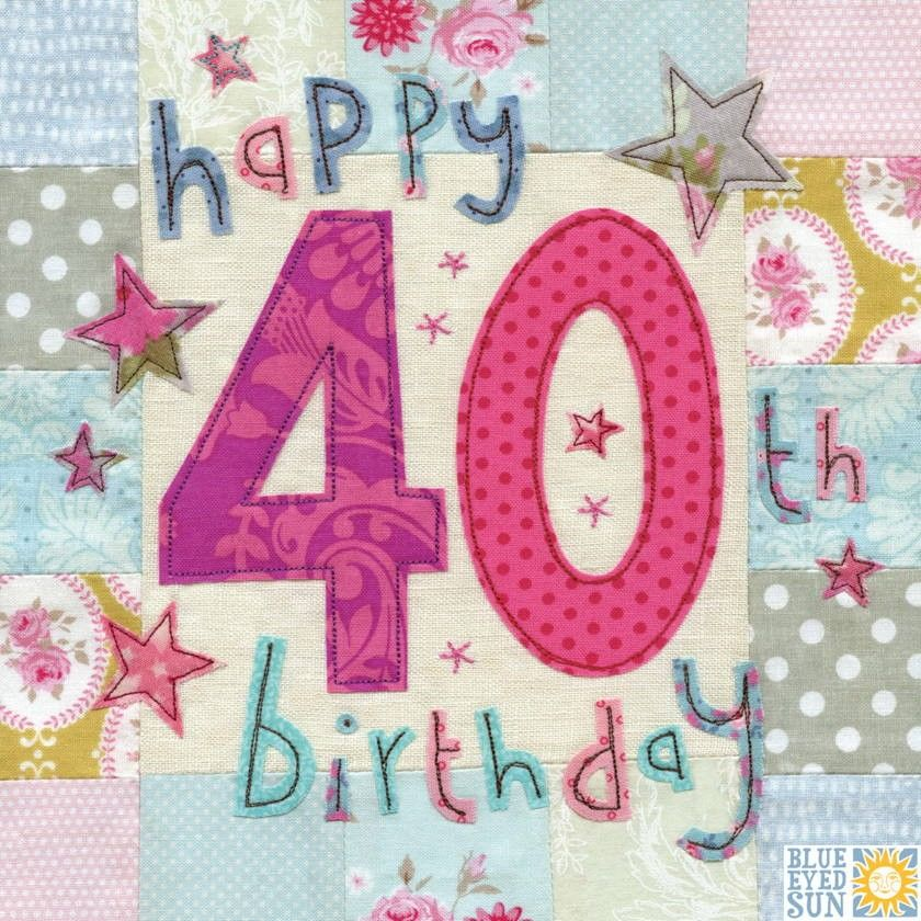 Happy 40th Birthday Card Large luxury birthday card Karenza – Happy 40th Birthday Card