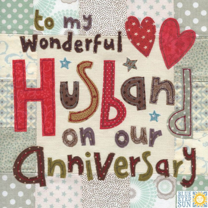 Wonderful husband on our anniversary card large luxury