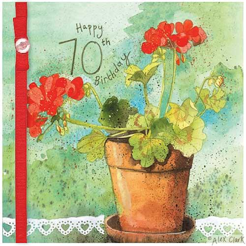 buy 70th birthday card for her online from karenza paperie age seventy female birthday cards with summer flowers red geraniums