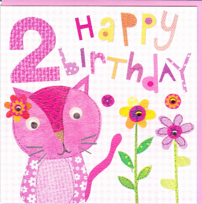 Pink Cat 2nd Birthday Card Karenza Paperie – Second Birthday Cards