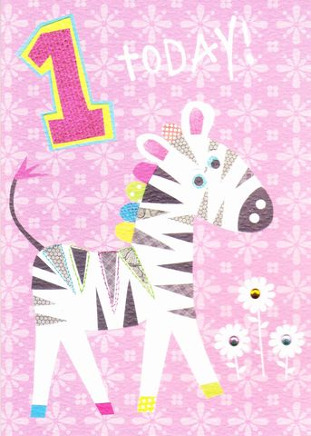 Pink,Zebra,1st,Birthday,Card,buy 1st birthday card online, buy age one birthday cards online, buy girls 1st birthday card online, buy age 1 cards for girls, little girls first birthday card, zebra 1 today birthday card, birthday cards with zebras, childrens age birthday cards, first