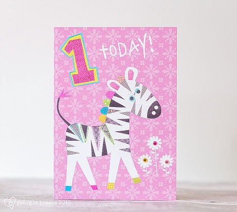 Zebra 1st Birthday Card