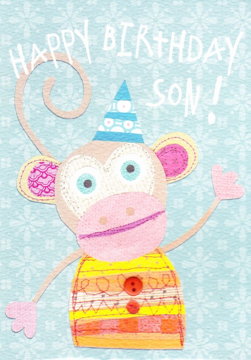 Happy Birthday Son Monkey Birthday Card Karenza Paperie – Happy Birthday Card Son