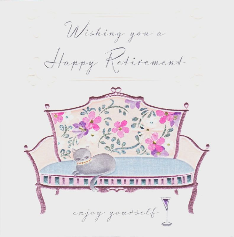 Cat sofa happy retirement card karenza paperie m4hsunfo