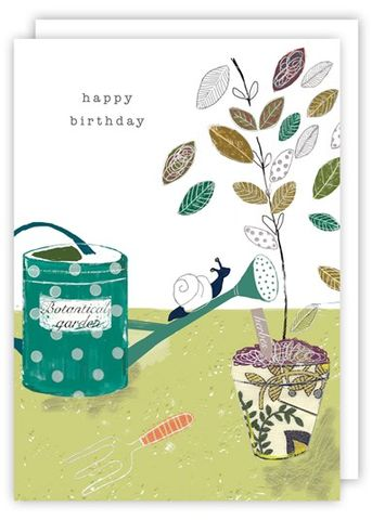 Snail,&,Watering,Can,Birthday,Card,buy botanical garden birthday cards online, buy birthday cards with snail online, watering can birthday cards, buy birthday cards with garden online, garden birthday card, buy birthday cards with flowers online, floral birthday cards, birthday cards with