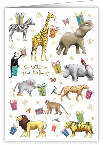 Jungle,Animals,Go,Wild,Birthday,Card,buy jungle animal birthday cards online, buy birthday cards with animals online, go wild birthday cards with animals, buy zebra cards online, buy lion cards online, buy elephant birthday cards online, buy tiger birthday cards online, buy monkey birthday c
