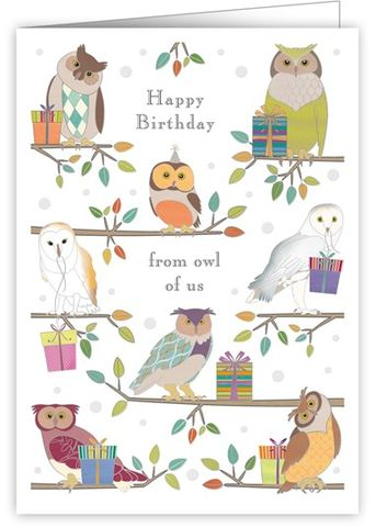 Owls,From,All,Of,Us,Birthday,Card,buy from all of us birthday cards online, buy owl birthday cards online, buy bird birthday cards online, buy birthday cards with owls online