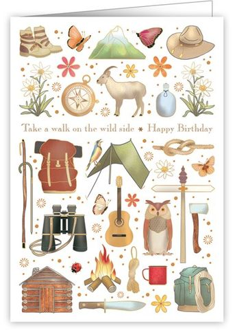 Take,A,Walk,On,The,Wild,Birthday,Card,buy take a walk on the wild side birthday card online, buy birthday cards for walkers online, buy birthday cards for hikers online, buy camping birthday cards online, buy birthday cards for him online,