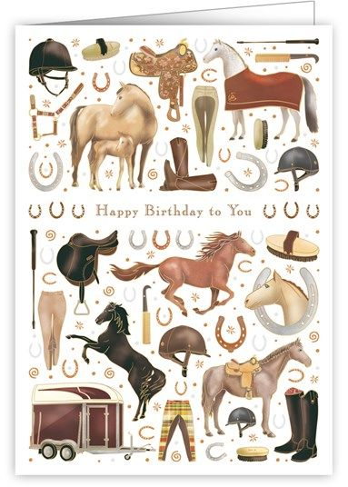 Horses Happy Birthday Card Karenza Paperie