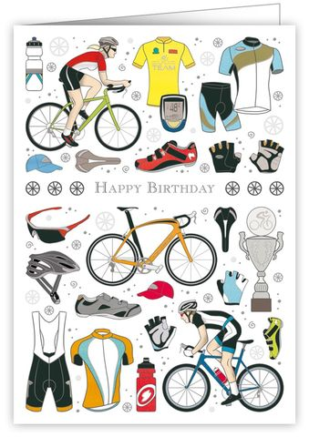Cyclists,Happy,Birthday,Card,buy  cyclist birthday cards online, buy birthday cards for cyclists online, buy birthday cards for him with bike, buy female birthday cards for cyclist,