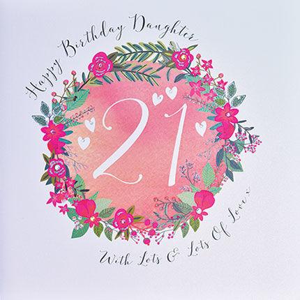 Daughter 21st Birthday Card Large Luxury Birthday Card Karenza – 21st Birthday Cards Daughter