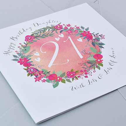 Daughter 21st Birthday Card Large Luxury Birthday Card Karenza – 21st Birthday Cards for Daughter