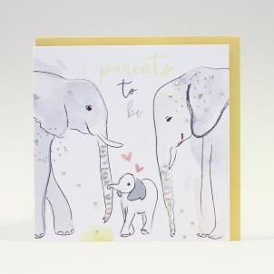 Elephants,Parents,To,Be,Hand,Painted,Card,buy parents to be cards online, buy happy pregnancy cards online, buy congrats on baby news cards online, buy mum to be card online, buy elephant cards online, buy elephant parents to be cards online