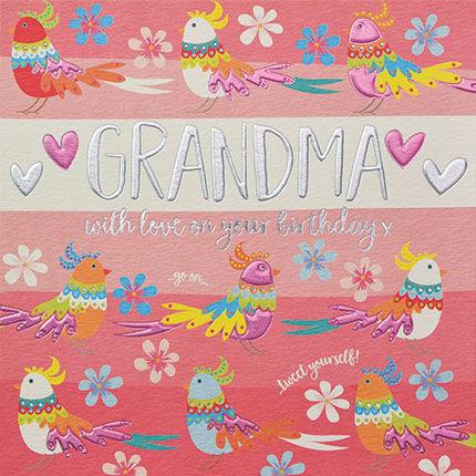 Grandma With Love On Your Birthday Card