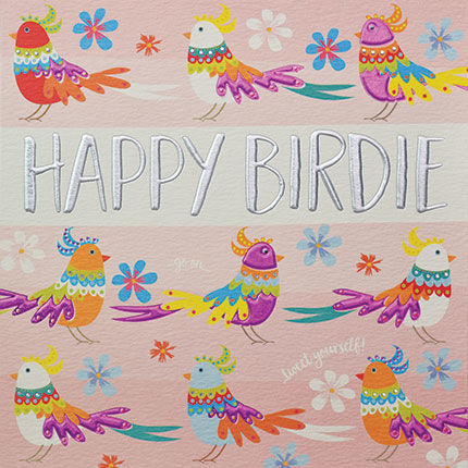 Hand,Finished,Birds,Birthday,Card,buy birthday cards for her online, buy female birthday cards with bird online, bird pretty birthday cards for her, birds birthday card for her, pretty female birthday cards
