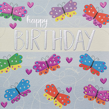 Hand,Finished,Butterflies,Birthday,Card,buy birthday cards for her online, buy female birthday cards with butterflies online, butterfly pretty birthday cards for her, butterfly birthday card for her, pretty female birthday cards