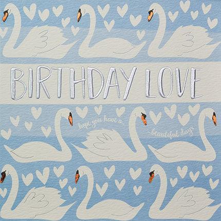 Swans birthday love birthday card karenza paperie swans birthday love birthday card product images of bookmarktalkfo Image collections