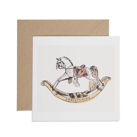 Hand,Printed,Rocking,Horse,Christening,Card,buy christening card online, buy christening day card online, buy baby's christening card online buy baby card with rocking horse, buy rocking horse christening card, buy christening cards for babys special day, little boy christening card, baby girl chri