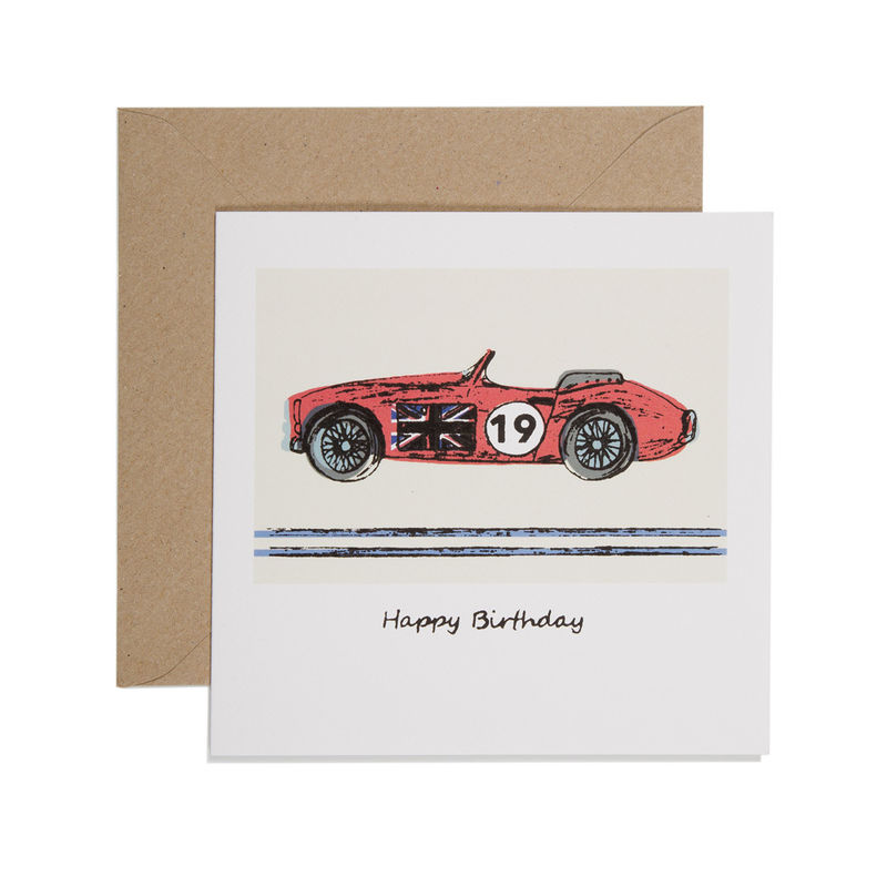 Hand Printed Red Racing Car Birthday Card Karenza Paperie