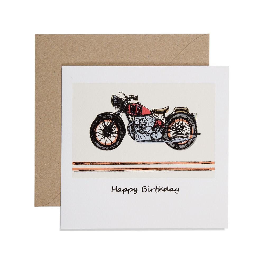 Hand Printed Motorbike Birthday Card Karenza Paperie – Motorbike Birthday Cards