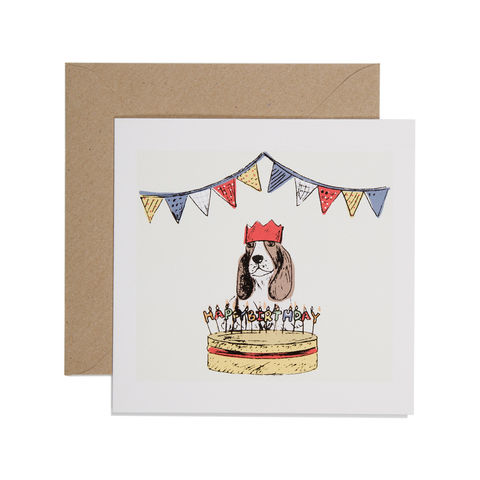 Hand,Printed,Dog,and,Birthday,Cake,Card,buy birthday cake birthday cards online, buy dog and party hat birthday card online, buy dog birthday cards online, buy birthday cards for him online, buy birthday cards with dogs online, buy birthday cards for her online, buy basset hound birthday card o