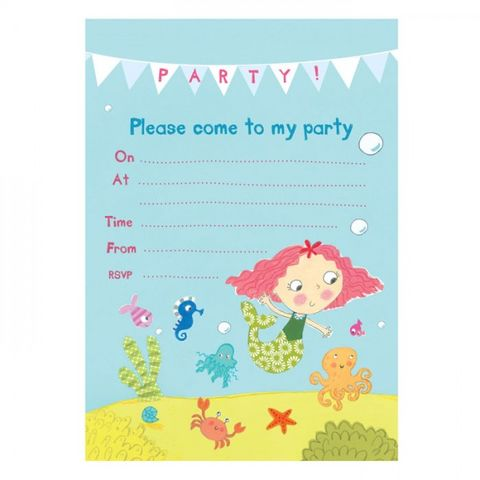 Mermaid,Party,Invitations,-,Pack,of,8,buy mermaid birthday party invitations online, buy party invites with mermaids online, buy girls birthday party invites online, mermaid party invitations and thank you cards, magical girls party invites,