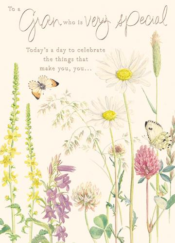buy gran birthday cards online with flowers and butterflies from karenza paperie country diary cards