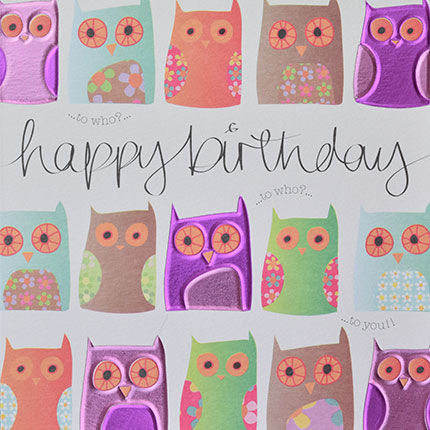 Owls,To,Who,Birthday,Card,buy owl birthday cards online, buy owls birthday cards online, buy birthday cards for her online, girls birthday card, cards with owls, birds birthday cards, birthday cards for girls, female birthday cards, owls birthday cards, bird birthday card for her