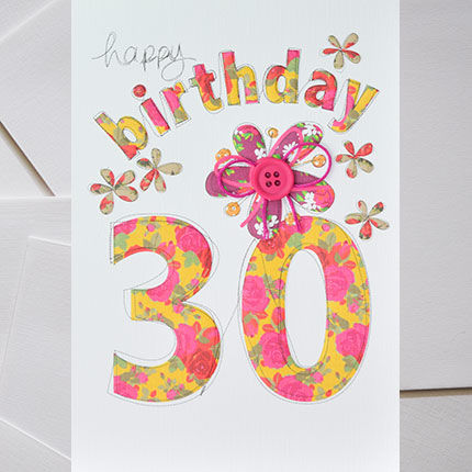 Hand Finished 30th Birthday Card