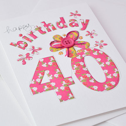 Hand Finished 40th Birthday Card