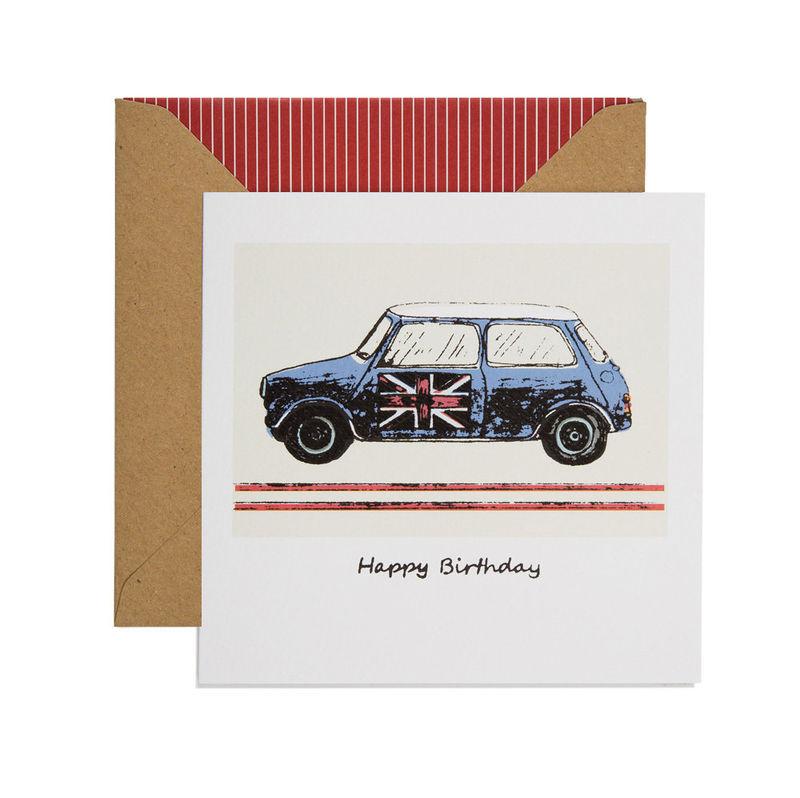 Hand Printed Retro Mini Birthday Card