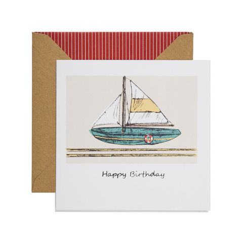 Hand,Printed,Vintage,Boat,Birthday,Card,buy yacht birthday card online for him, buy boat birthday cards online, buy birthday cards with yachts online, buy boat birthday cards for him online, buy sailing birthday cards online, gone sailing birthday cards for him