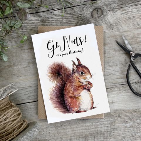 Squirrel,Go,Nuts,It's,Your,Birthday,Card,buy squirrel birthday card online for him, buy female birthday card with squirrel online, go nuts on your birthday card, animal birthday cards, squirrel birthday cards