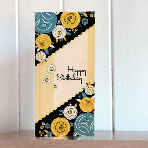 Yellow,Floral,Tall,Birthday,Card,buy birthday cards for her online, buy art deco birthday cards online, buy female birthday cards online, buy birthday cards with flowers online, buy floral birthday cards online