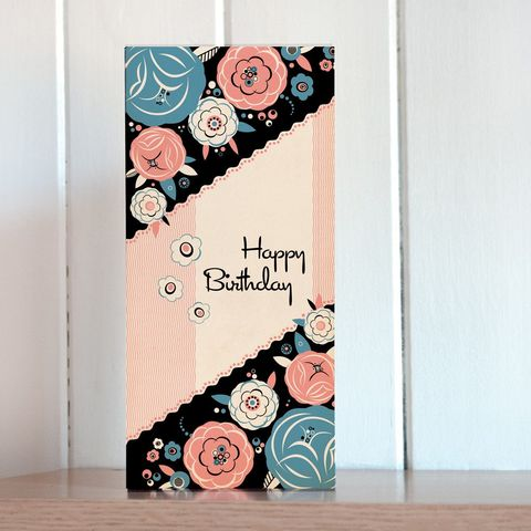 Pink,Floral,Tall,Birthday,Card,buy birthday cards for her online, buy art deco birthday cards online, buy female birthday cards online, buy birthday cards with flowers online, buy floral birthday cards online