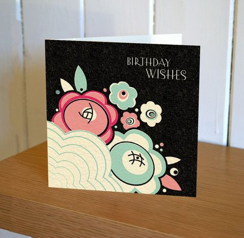 Navy,Art,Deco,Floral,Birthday,Wishes,Card,buy birthday cards for her online, buy art deco birthday cards online, buy female birthday cards online, buy birthday cards with flowers online, buy floral birthday cards online