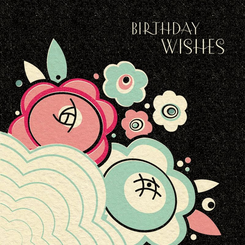 Navy Art Deco Floral Birthday Wishes Card