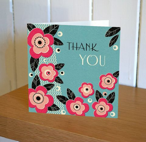 Art,Deco,Floral,Thank,You,Card,buy thank you cards online, buy thank you cards with flowers online, buy floral thank you cards, buy thank you cards for her online, buy pretty thank you cards online