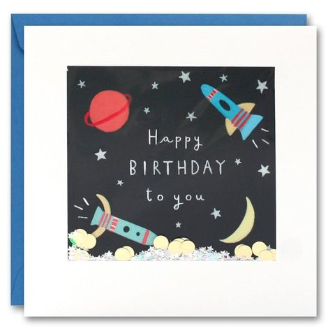 Shakies,Outer,Space,Birthday,Card,buy shakies birthday cards online, buy spaceship birthday cards online, buy gender nuetral cards for children online, buy space birthday cards for him online, buy rocket birthday cards online, buy moon and stars birthday cards online, buy male birthday ca