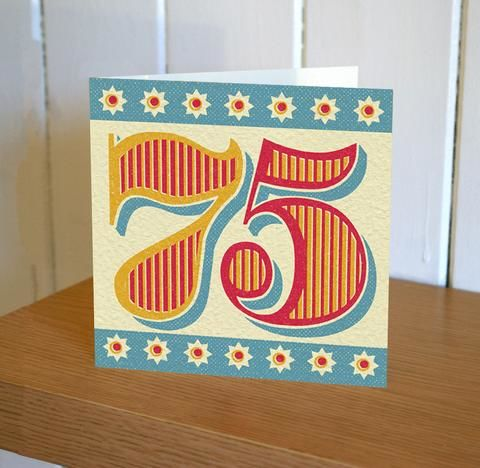 Retro 75th Birthday Card