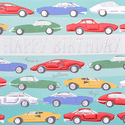Hand Finished Cars Birthday Card Karenza Paperie
