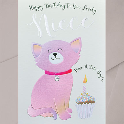Hand Finished Cat Happy Birthday Lovely Niece Card Karenza Paperie