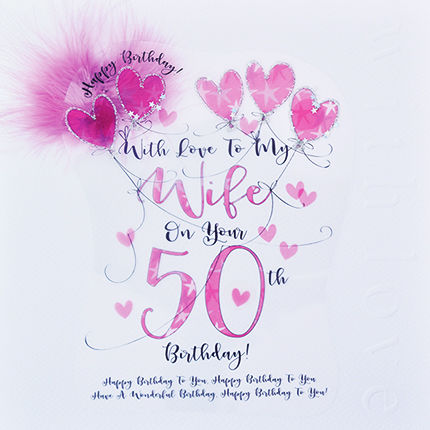 Handmade Wife 50th Birthday Card Large Luxury Birthday Card
