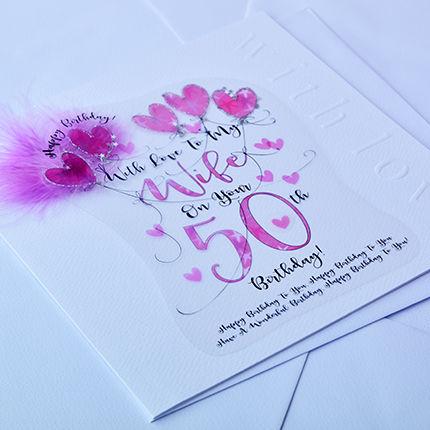 Handmade Wife 50th Birthday Card Large Luxury Birthday Card