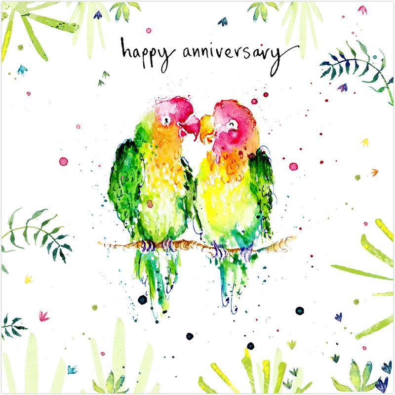 love birds happy anniversary card karenza paperie - Anniversary Cards