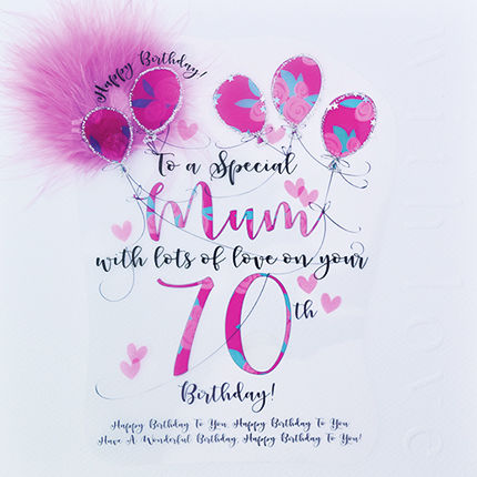Handmade Mum 70th Birthday Card