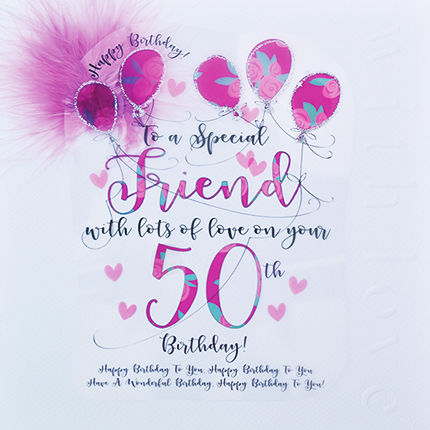Handmade Friend 50th Birthday Card Large Luxury Birthday Card
