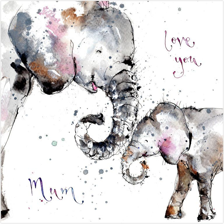 Love You Mum Elephants Card